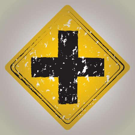 road ahead: cross road ahead sign