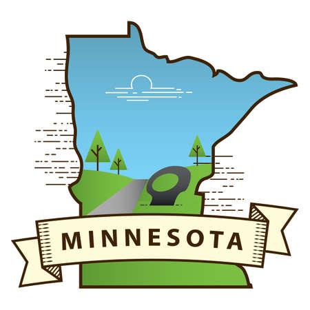 minnesota: minnesota state map Illustration