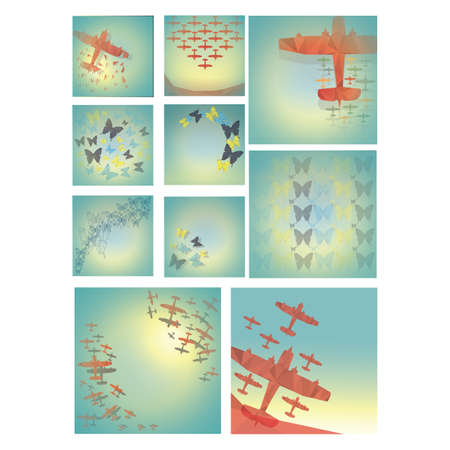 glider: faceted glider planes and butterflies set Illustration