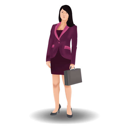 formal clothing: businesswoman holding briefcase Illustration