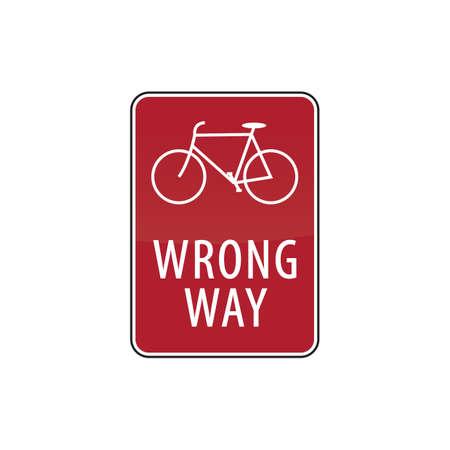 wrong: bicycle wrong way road sign