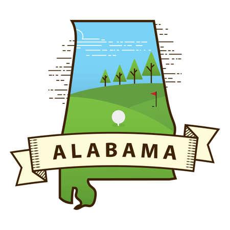 alabama: alabama state map Illustration