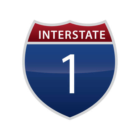 interstate: interstate 1 route sign Illustration