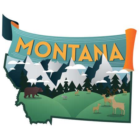 montana state map Векторная Иллюстрация