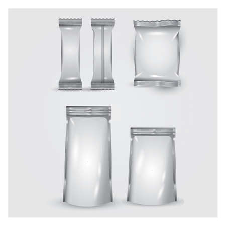 collection of blank food packages Illustration