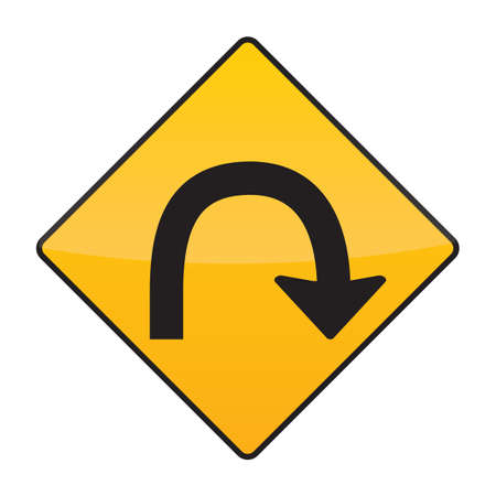 uturn: u-turn road sign Illustration