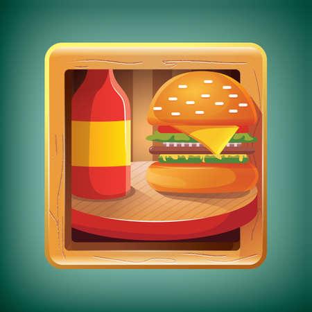 sauce: burger with sauce bottle
