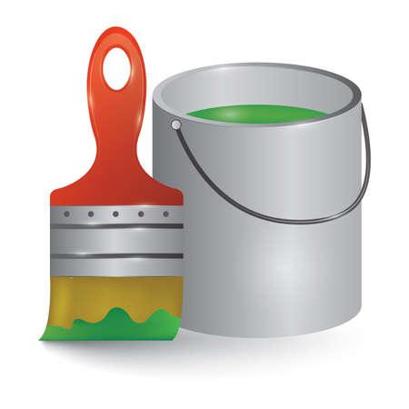 paint bucket: paint bucket and brush