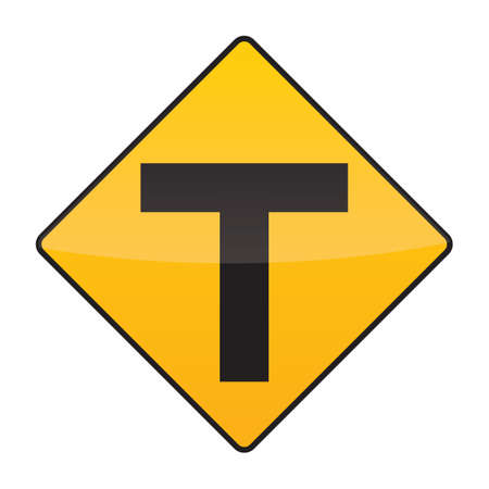intersection: t intersection warning sign