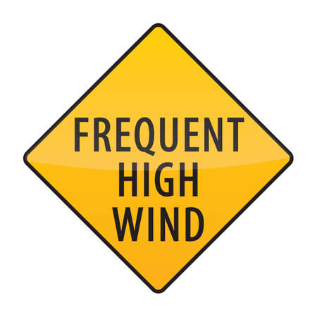 frequent: frequent high wind warning sign Illustration