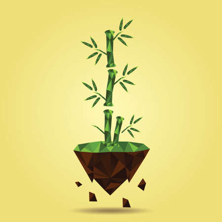 floating island: bamboo tree on floating island Illustration