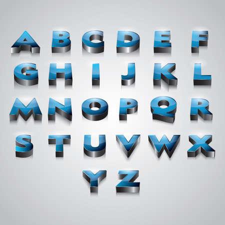 s c u b a: set of 3d alphabets Illustration