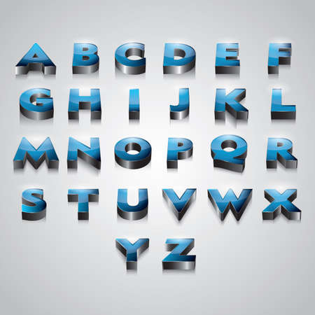 set of 3d alphabets Vectores