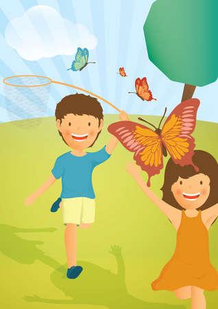 catching: kids catching butterflies with net