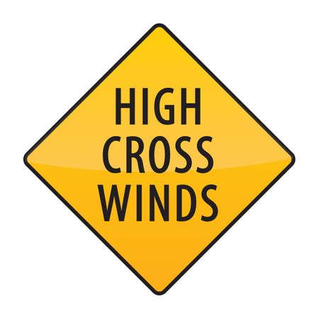 high winds: high cross winds warning sign