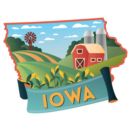 iowa agriculture: iowa state map Illustration