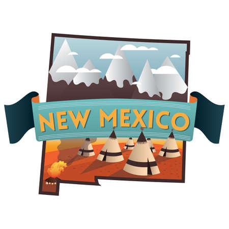 new mexico: new mexico state map Illustration