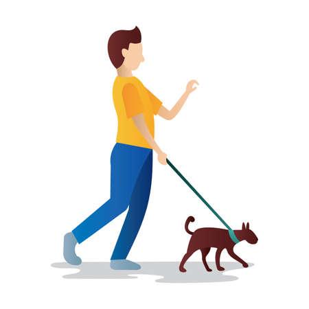 dog walking: man walking a dog Illustration