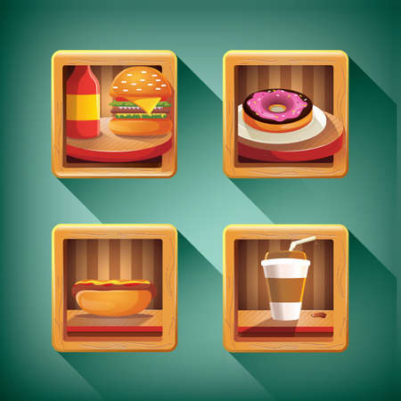 sweet sauce: food and beverage icon set