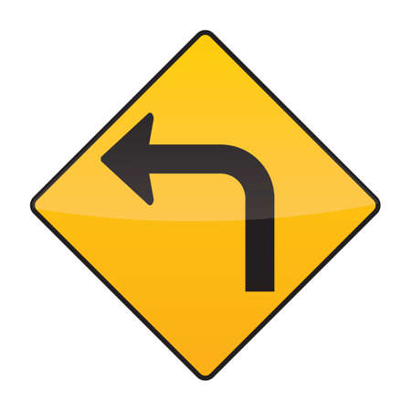 turn on: left turn warning sign