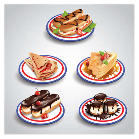 eclair: collection of french food icons