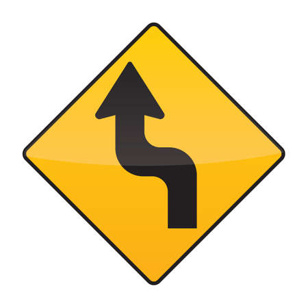 reverse: reverse turn left warning sign Illustration