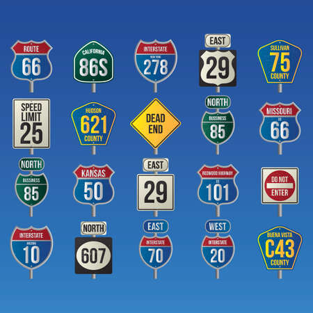 70 75: collection of usa route signs
