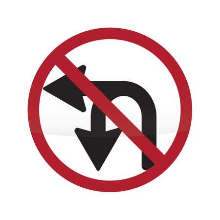 no u turn sign: no u-turn or left turn sign