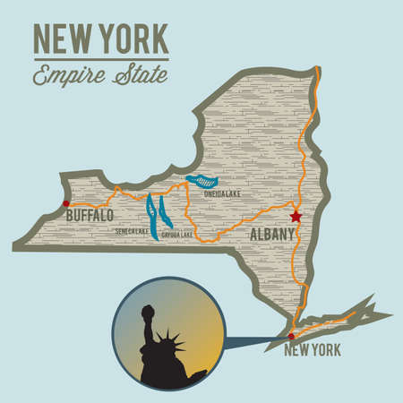 empire state: new york state map