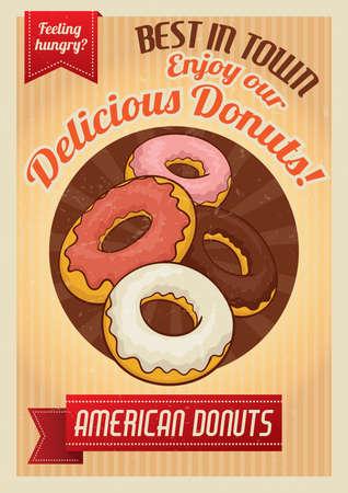 delicious: delicious donuts poster Illustration