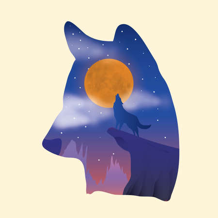 double exposure: double exposure of wolf and night sky Illustration