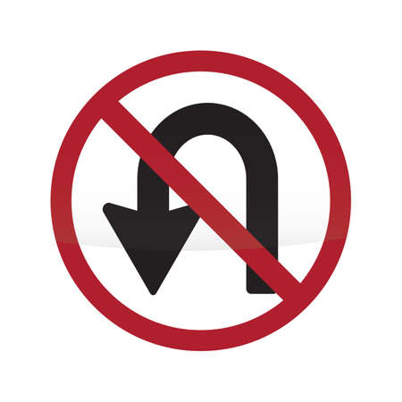 uturn: no u-turn sign Illustration