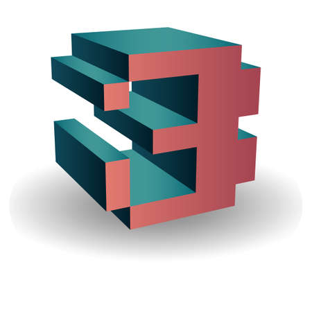 integer: isometric number 3 Illustration