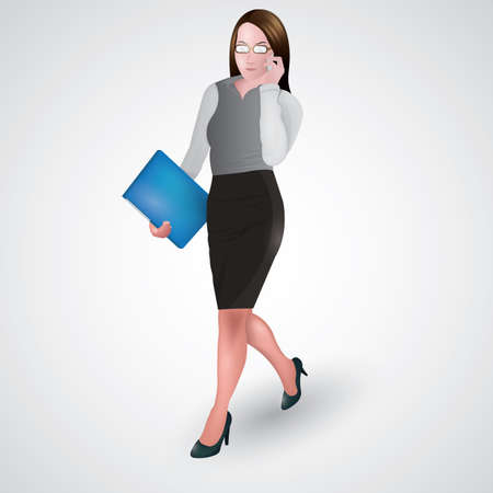 mobilephones: businesswoman walking