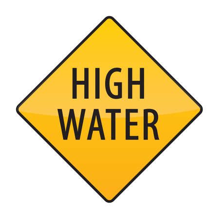 high: high water warning sign Illustration