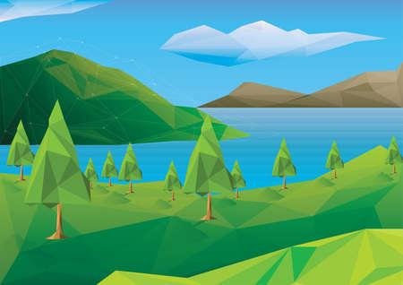 low poly landscape Vector Illustration