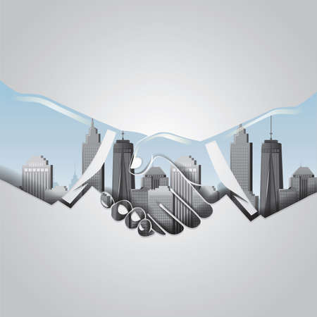 double exposure: double exposure of handshake and cityscape Illustration