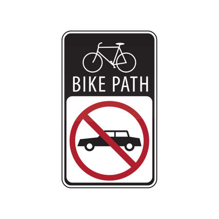 road bike: bike path road sign