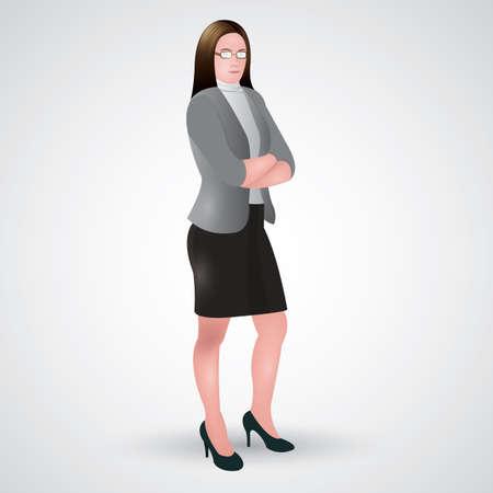 folded hands: businesswoman standing