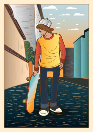 skateboard boy: boy holding skateboard Illustration