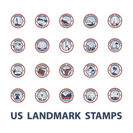 hoover: usa landmark stamps