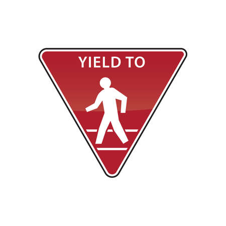 yield sign: yield to pedestrian road sign