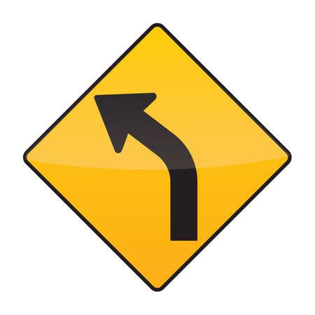 sharp: sharp curve ahead on left sign Illustration