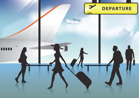 departure board: passengers at airport Illustration