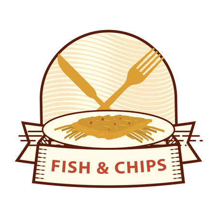 supper: fish and chips label Illustration