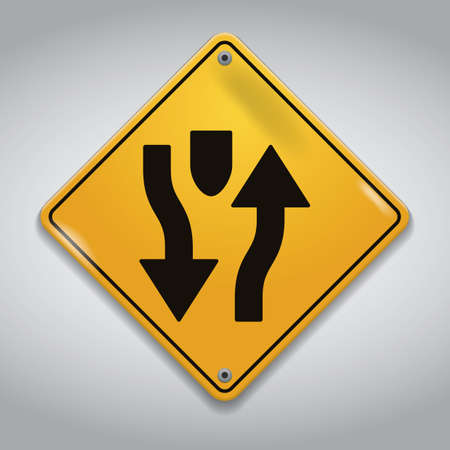 ahead: divided highway ahead road sign
