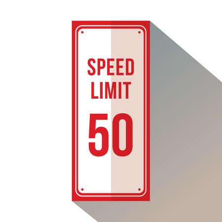 Maximumsnelheid 50 bewegwijzering. Vector Illustratie