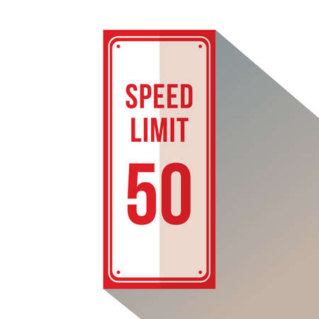 Speed limit 50 signage. 向量圖像