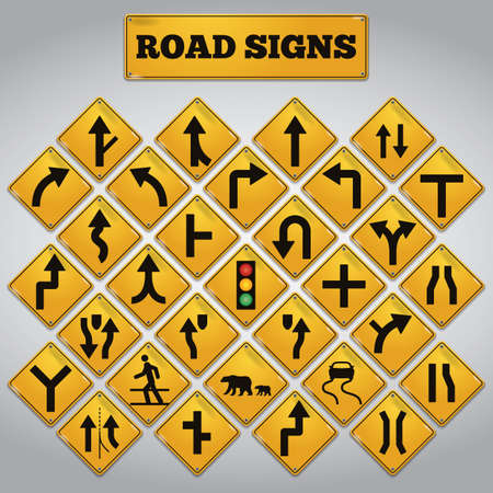 two lane highway: collection of road signs Illustration