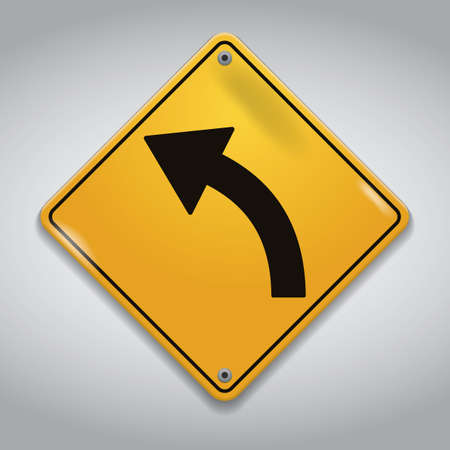 lefthand: left-hand curve road sign